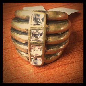 Lia Sophia Diverge Matte Crystals Ring sz7 (New)